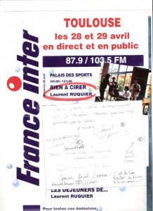 Special Live broadcasting with FRANCE INTER radio (Laurent Ruquier team) in Toulouse holiday inn